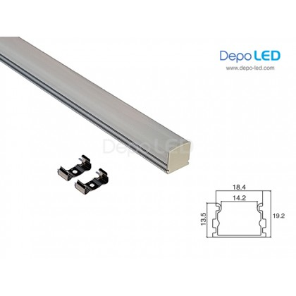 Housing LED Rigid Aluminium 2cm x 2cm x 1m