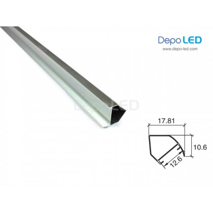 Housing LED Rigid Aluminium 45° x 1m