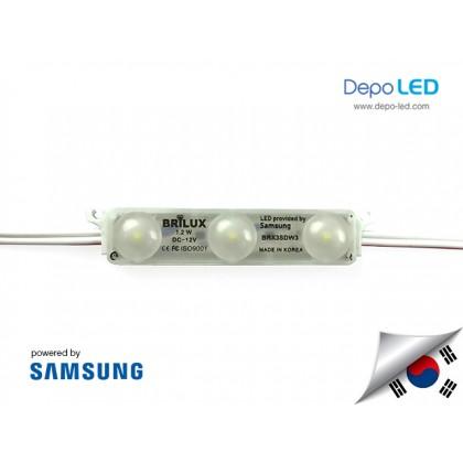 LED Module DOFF SAMSUNG Brilux ANX 3 mata SMD 2835 | 12V IP68 Waterproof (KOREA)
