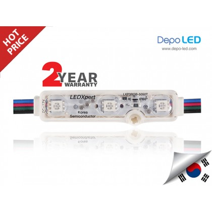 LED Module RGB LEDXpert Korea 3 mata | 12V IP68 Waterproof + Lensa