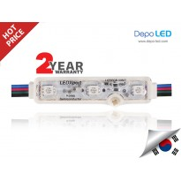 LED Modul RGB LEDXpert Korea 3 mata SMD 5050 | 12V IP68 Waterproof + Lensa