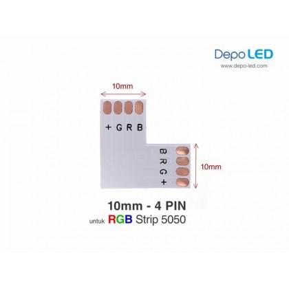 5050 RGB LED Strip Connector PCB Bentuk L | 10mm 4 PIN