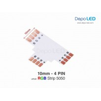 5050 RGB LED Strip Connector PCB T Cabang Tiga | 10mm 4 PIN