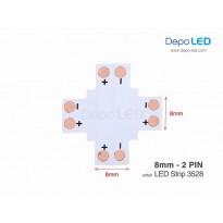 3528 LED Strip Connector PCB Cabang Empat | 8mm 2 PIN