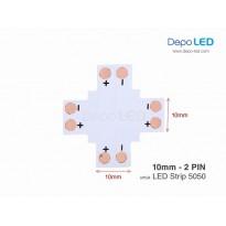 5050 LED Strip Connector PCB Cabang Empat | 10mm 2 PIN