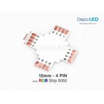 5050 RGB LED Strip Connector PCB Cabang Empat | 10mm 4 PIN