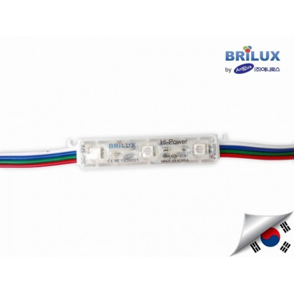 LED Module RGB Brilux Korea 3 mata | 12V IP68 Waterproof + Lensa