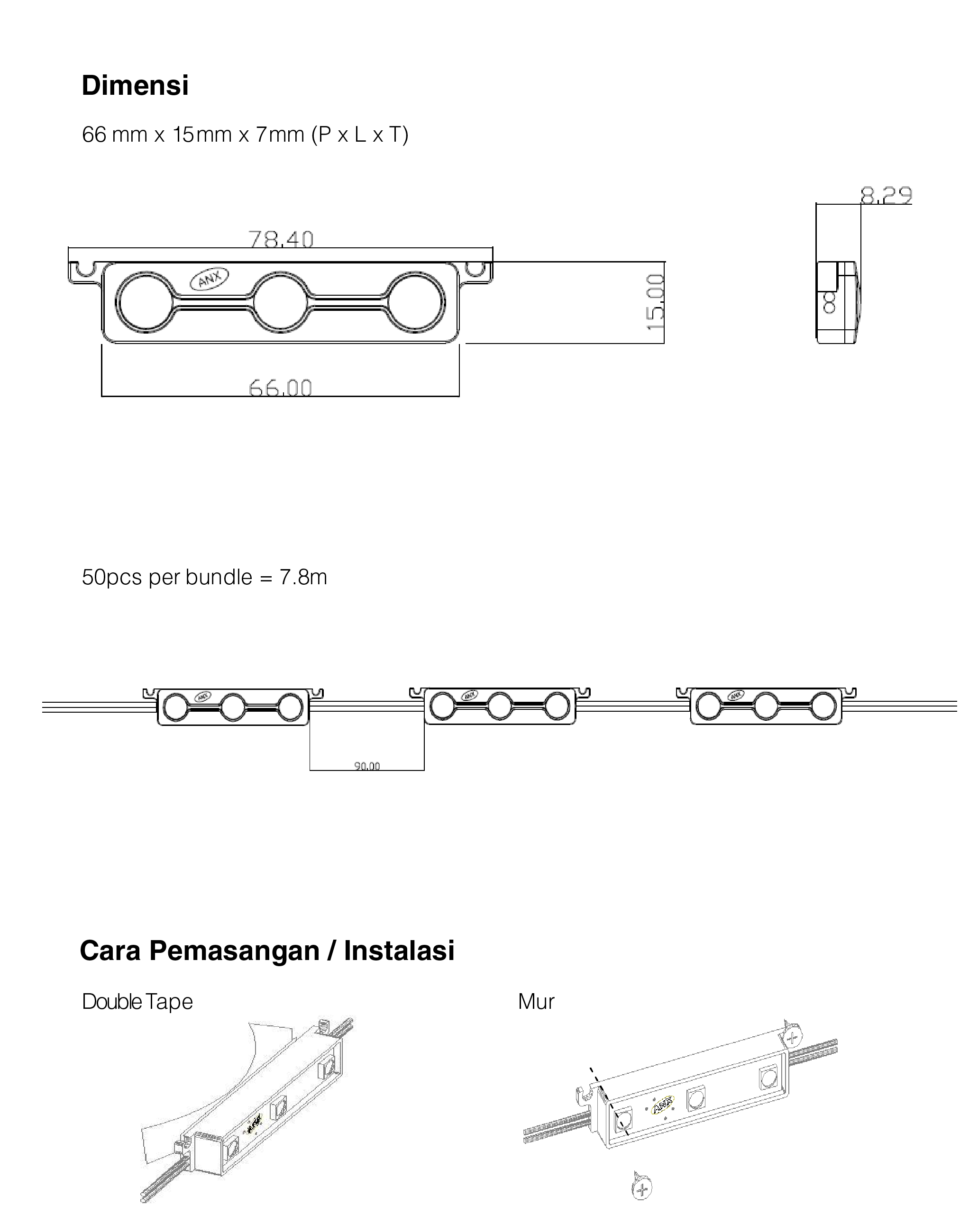 Dimensi dan Cara Pemasangan LED Module Korea Samsung LG Anylux