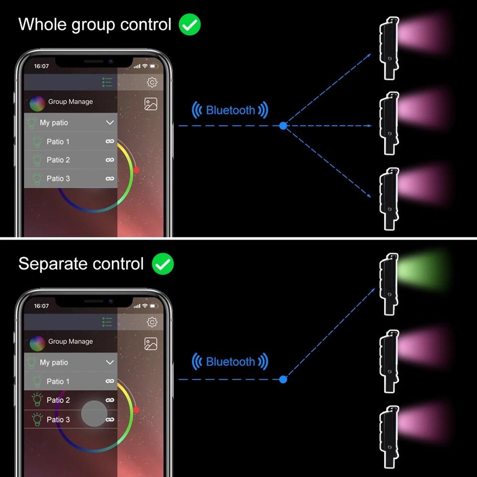 Lampu sorot LED flood light RGB RGBWW bluetooth group control kontrol grup