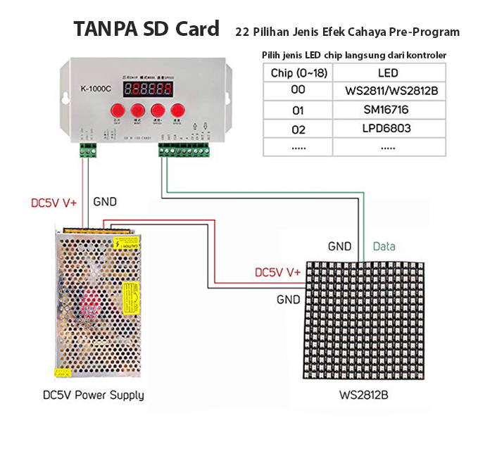 Cara menggunakan kontroler K-1000C T-1000S tanpa SD card