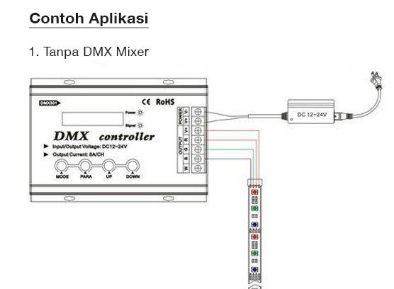 Cara pemasangan DMX 301 RGB console